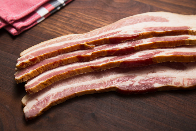 thick cut bacon on board