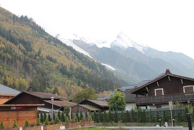 mont blanc behind hospital chamonix