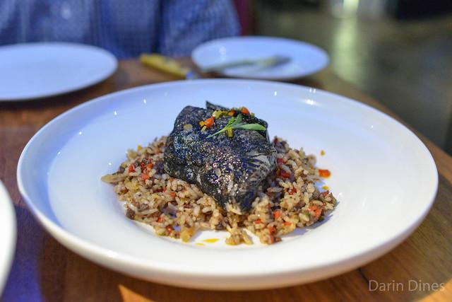 Basque Cod morcilla, piquillo peppers, squid ink, rice