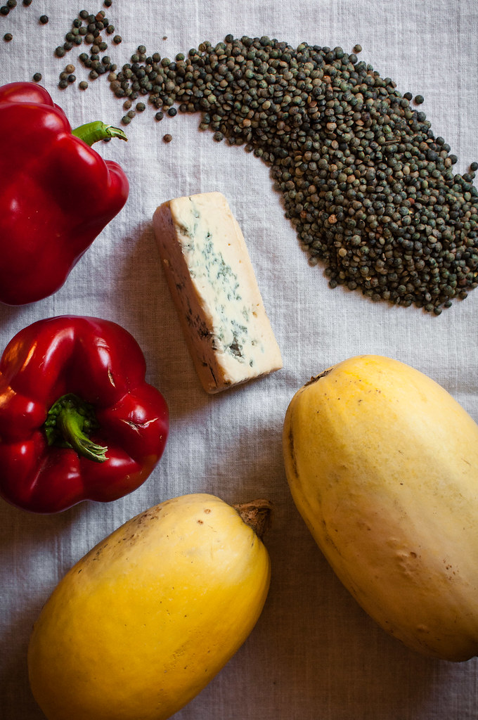 Lentils and cheese ingredients