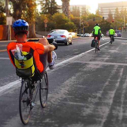 More bikes than cars on Agnew Road,  Santa Clara California #cycling #commute