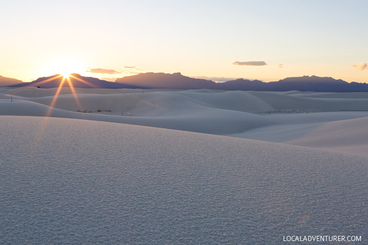Sunset at White Sands National Monument New Mexico USA - one of the world's great natural wonders located an hour outside Las Cruces.