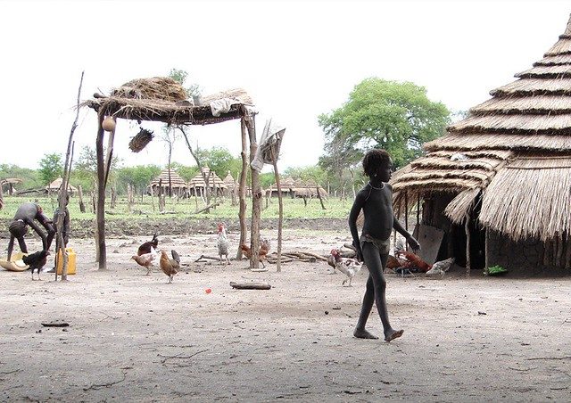 Nuer girl with chicken coop