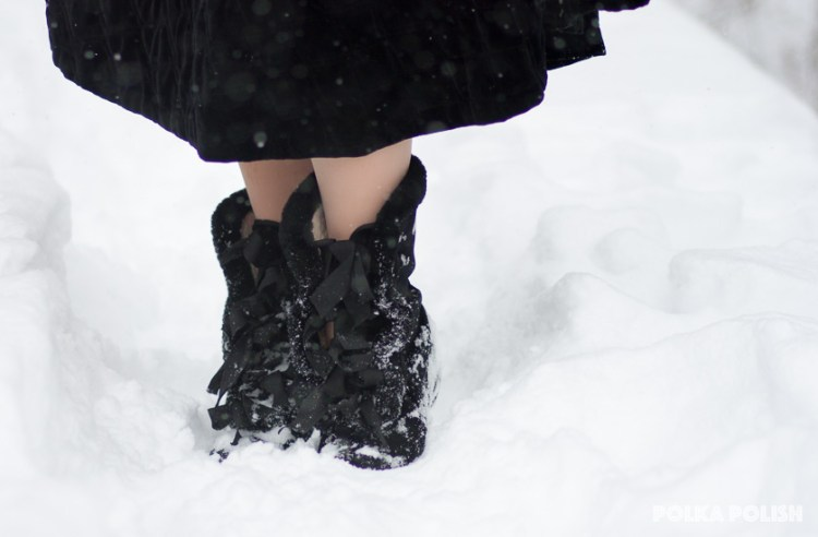 American Duchess Victoria carriage boots in black velvet and mouton fur trim are perfect for walking and standing in several inches of fresh snow