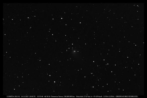 Cometa 2013 X1 26 11 2015 full moon