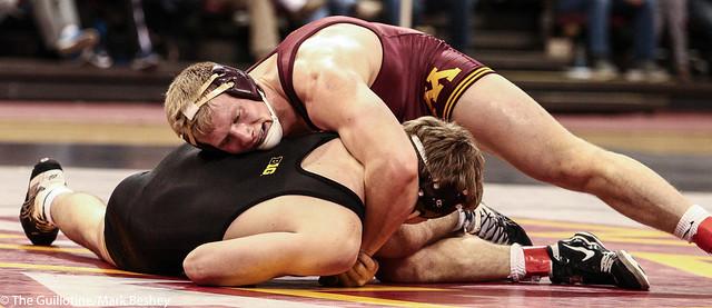 197: No. 2 Brett Pfarr (Minn) tech fall Mitch Bowman (Iowa), 19-4   Minn 5 – Iowa 19