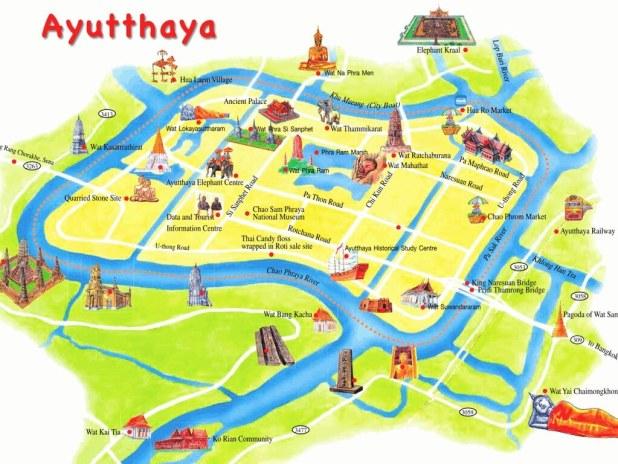 Mapa Visitar Ayutthaya