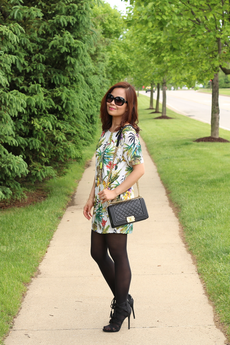 Botanical-print-dress-black-tights-chanel-bag-2