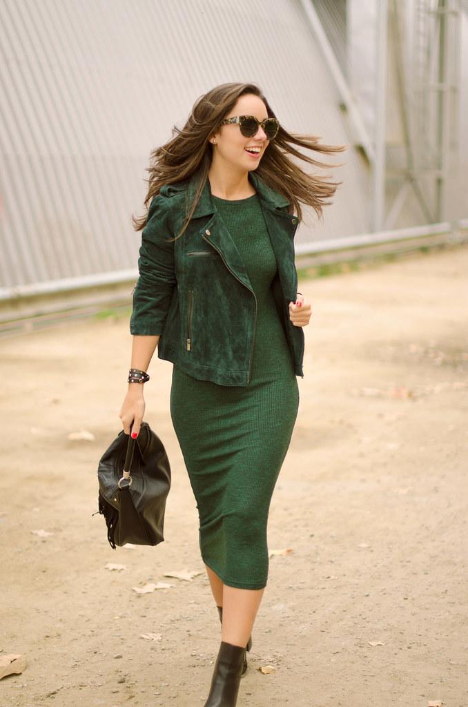 Cmo Combinar Un Vestido Verde De Punto Marta Barcelona