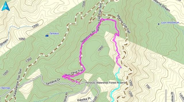Puu Ohia Trail Topo Map