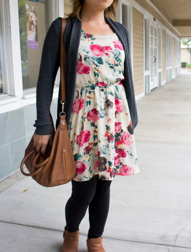 Floral Chiffon Dress and Brown Boots