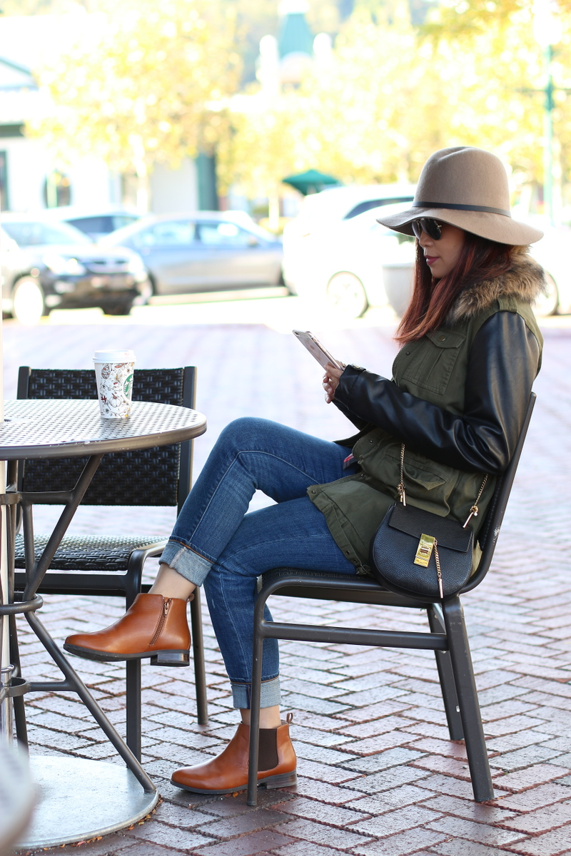 Vionic-Nadelle-Chelsea-Boots-fedora-jacket-fall-outfit-2