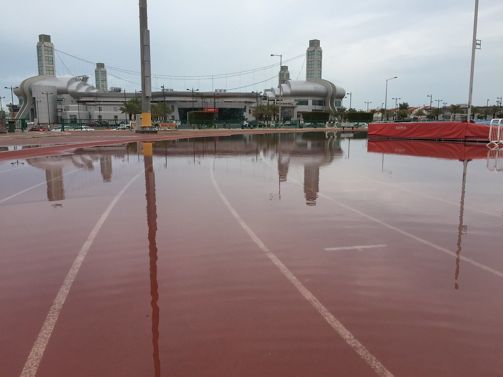 Flooded Running Track at Al Sadd Sports Club