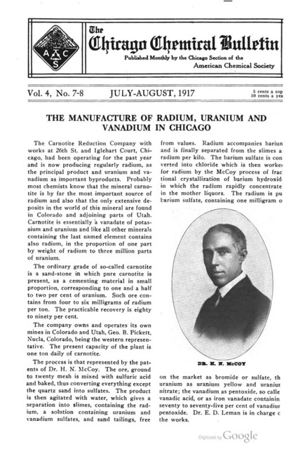 Chicago Chemical Bulletin: 1917 article about the Carnotite Reduction Company