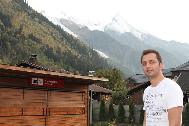 zaid outside aiguille du midi station with month blanc