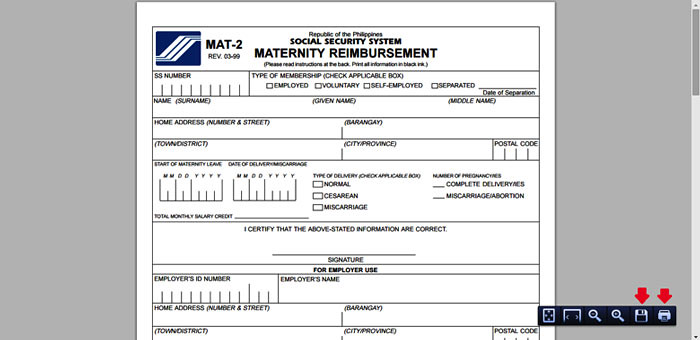 Maternity Reimbursement form