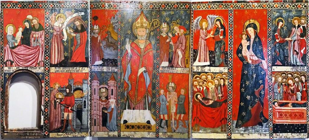 Pintura gotica al temple sobre tabla Retablo Franco-Navarra siglo XIV en iglesia san Saturnino Artajona Museo de Navarra Pamplona 02