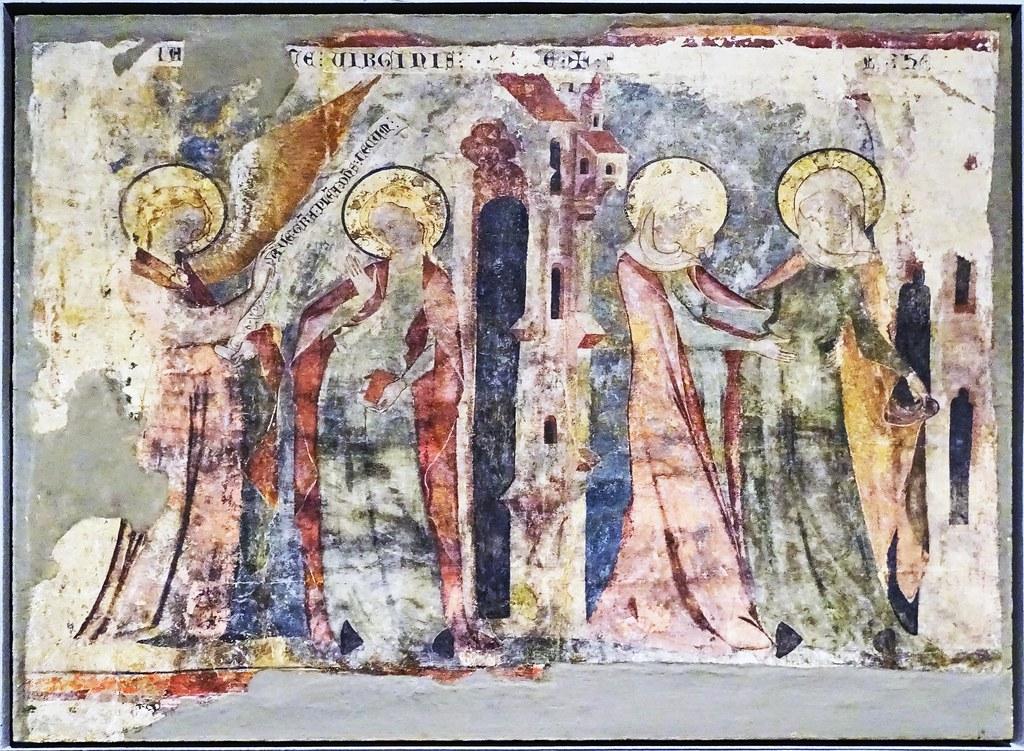 Pintura gotica mural Anunciacion y Visitacion de maestro de Olite en Capilla del Campanal San Pedro de Olite Museo de Navarra Pamplona
