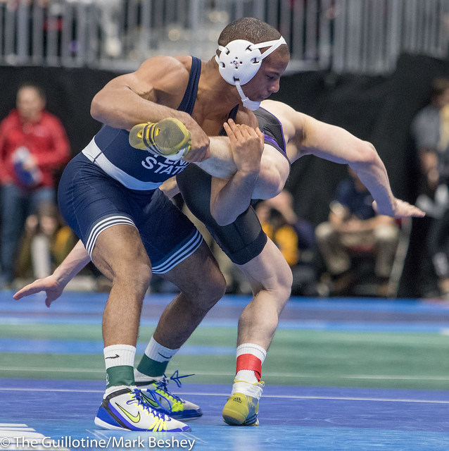 174 Quarterfinal - Mark Hall (Penn State) 31-0 won by decision over Taylor Lujan (Northern Iowa) 30-6 (Dec 6-2) - 180316amk0113