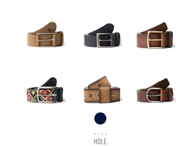 Colección de cinturones para hombre de Blue Hole en tonos neutros en materiales como el cuero o el ante