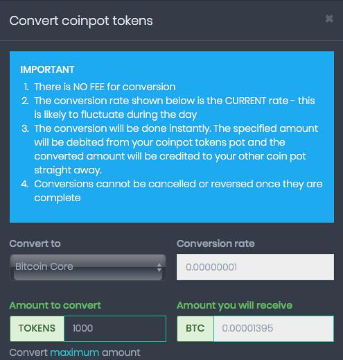 convirtiendo coinpot tokens