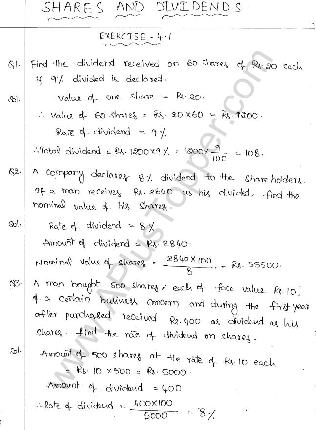 ML Aggarwal ICSE Solutions for Class 10 Maths Chapter 4 Shares and ...