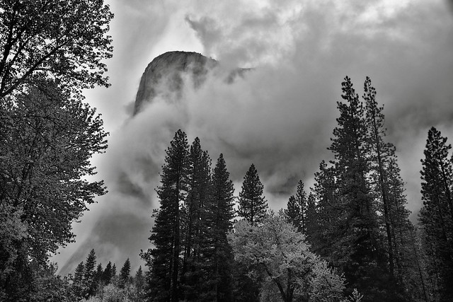 Storm Clouds Swirling Around El Capitan (Black & White)