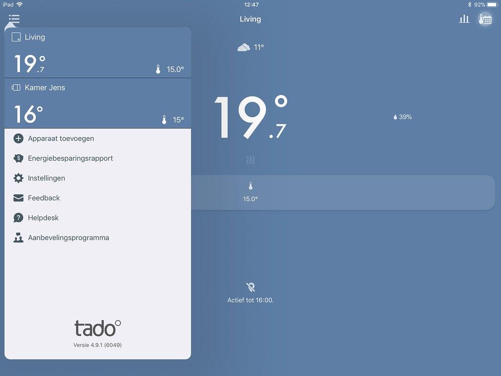 Snel hadden we 2 zones geconfigureerd in de Tado app.