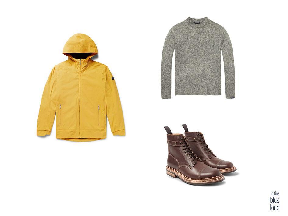 Look casual con impermeable amarillo, jersey y botas marrones para hombre