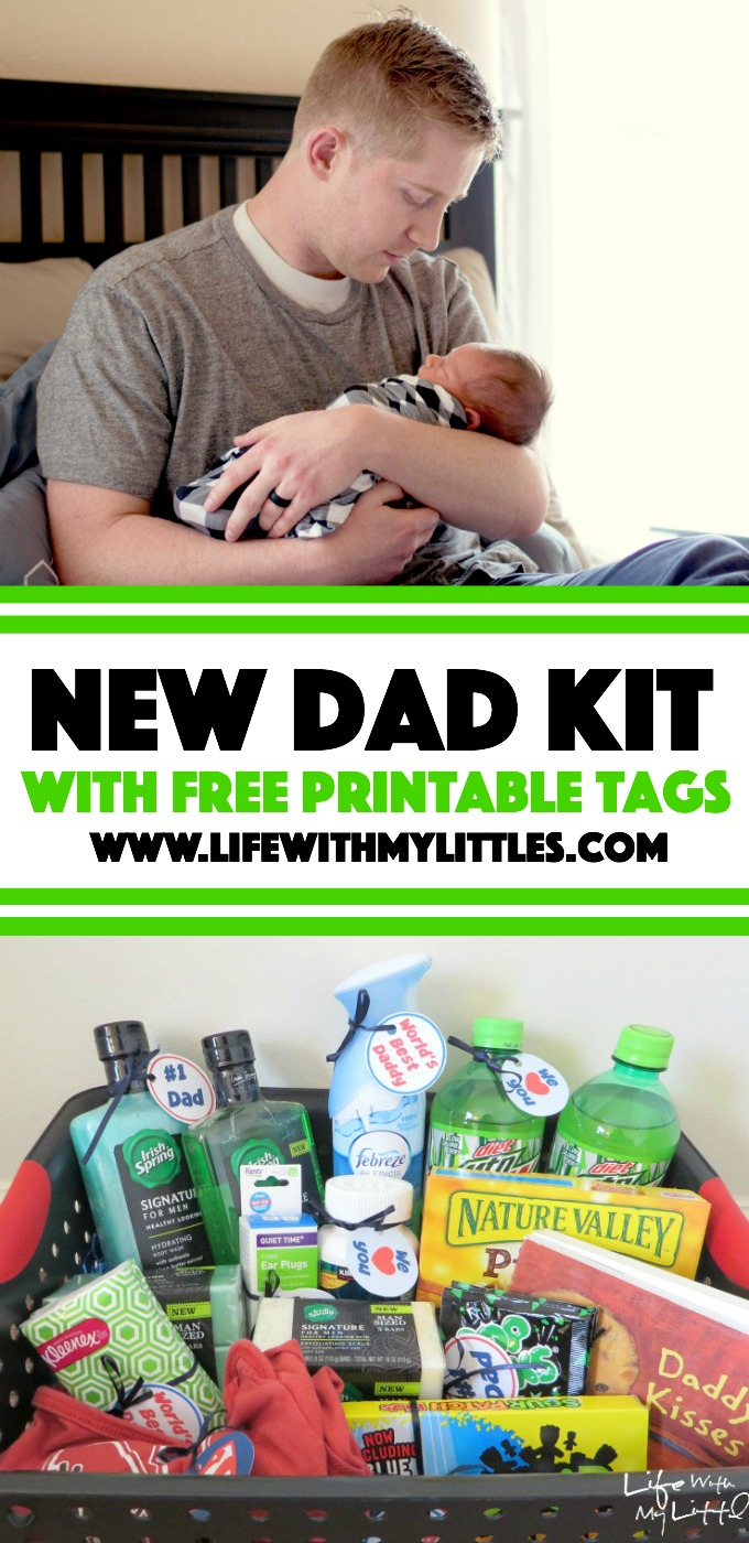 New Dad Kit with free printable tags. Make Daddy feel special with these great ideas for things to put in your kit! Perfect for a baby shower!