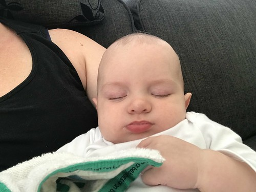 Sleeping baby after daycare
