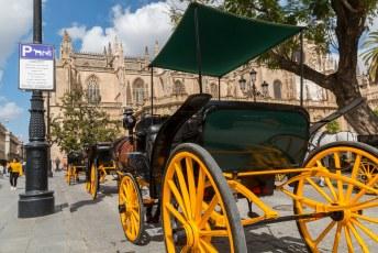 Iets verderop staan de koetsjes bij de kathedraal te wachten op toeristen.