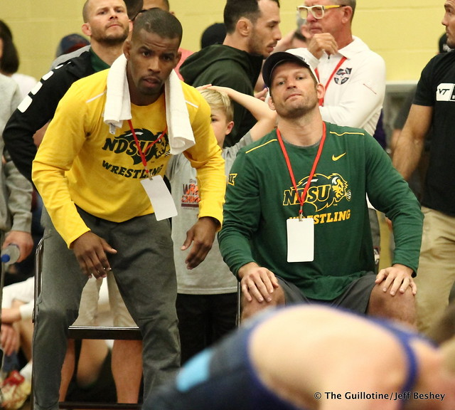 NDSU Coaches Jarrod Garnett and Matt Nagel. 180519AJF0054