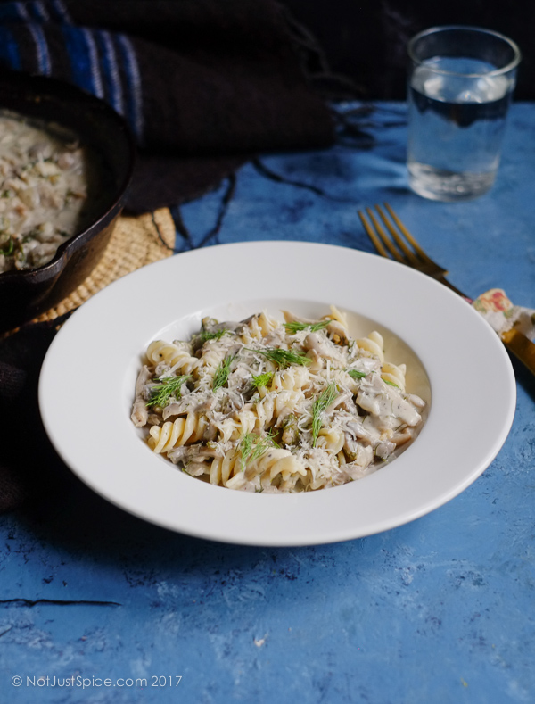 Creamy Mushroom and Dill Pasta | Fusilli with Creamy Mushroom and Dill on notjustspice.com