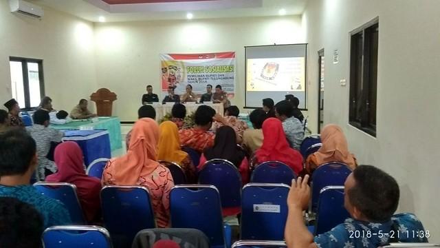 Sosialisasi Pilkada Tulunagung 2018 diselenggarakan PPK Sendang di Kantor Kecamatan Sendang, Senin (21/5)