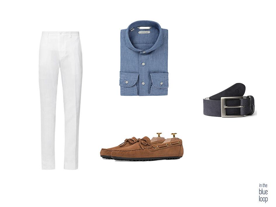 Look smart-casual con pantalón blanco, camisa azul, zapatos de verano y cinturón Igara de blue hole men