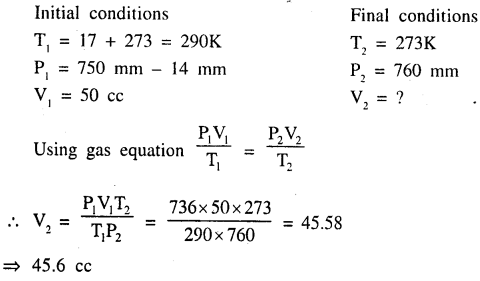 New Simplified Chemistry Class 9 ICSE Solutions - Study of The First Element - Study of Gas Laws 10.2
