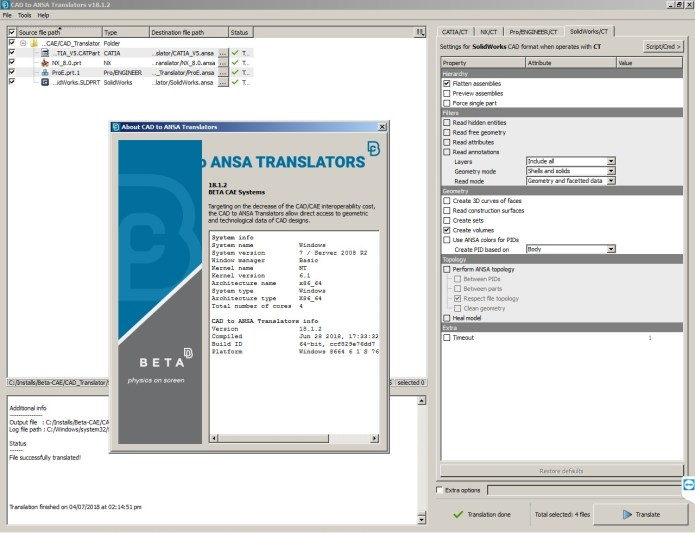 Working with BETA-CAE Systems Nasa Translators v18.1.2 full license