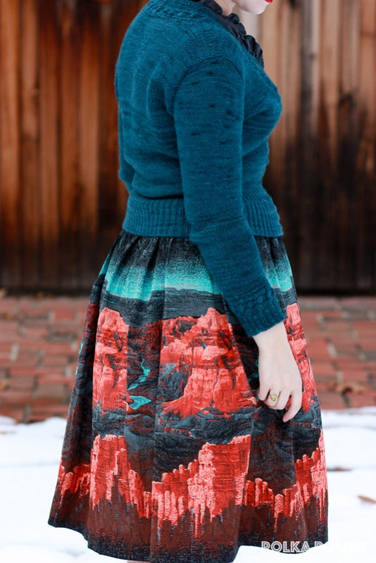 """""""Quick To Knit"""" cardigan & Millworth's Grand Canyon skirt"""