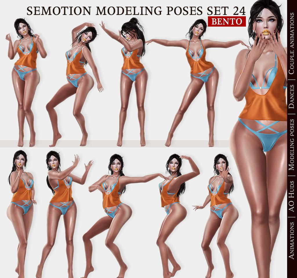 SEmotion Female Bento Modeling poses Set 24 - 10 static poses