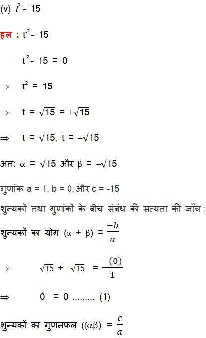 NCERT Book Solutions For Class 10 Maths Hindi Medium Polynomials