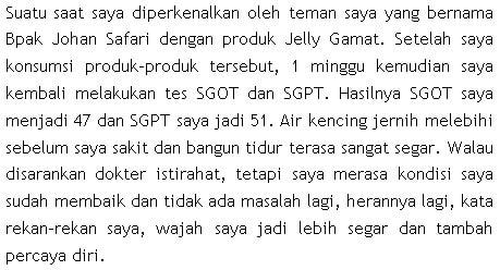 testimoni SGOT SGPT tinggi sembuh dengan QNC JELLY GAMAT