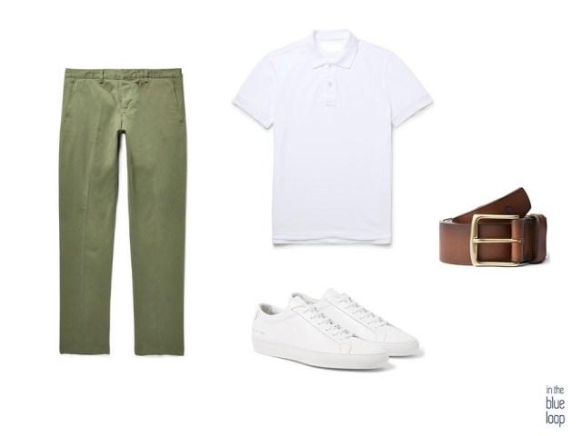 Look casual con chinos, polo blanco masculino, sneakers blancas y cinturón de cuero marrón Garoé de blue hole men