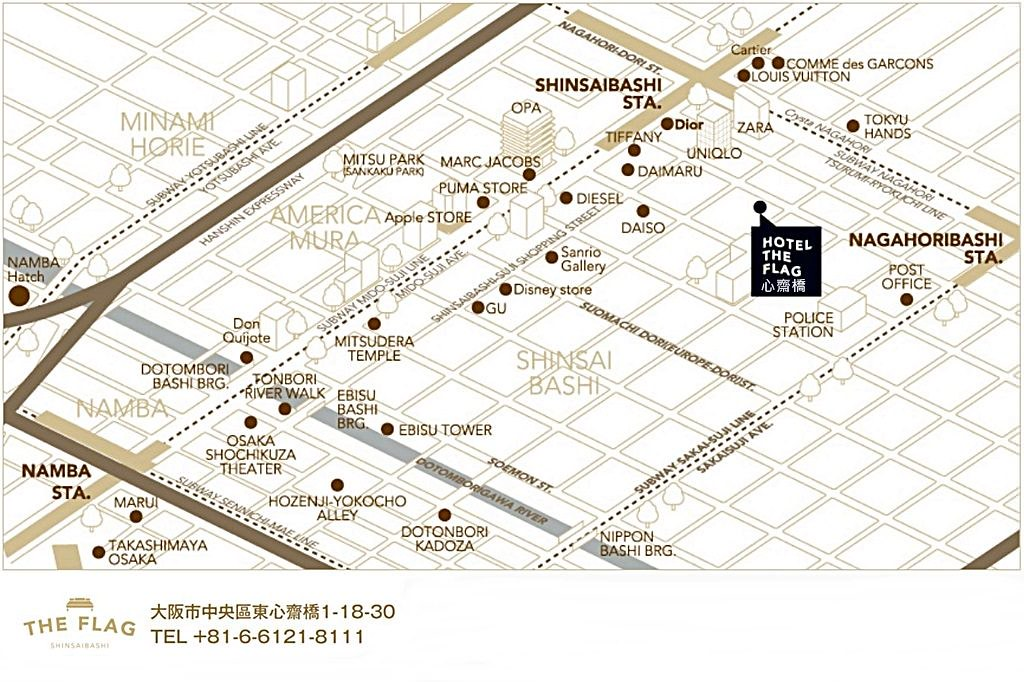 Hotel The Flag Shinsaibashi Map 2
