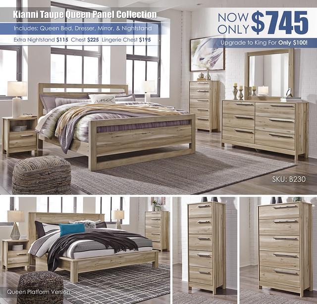 Kianni Taupe Panel Queen Bedroom Set_B230-31-36-46-58-56-95-91-Q293_KU