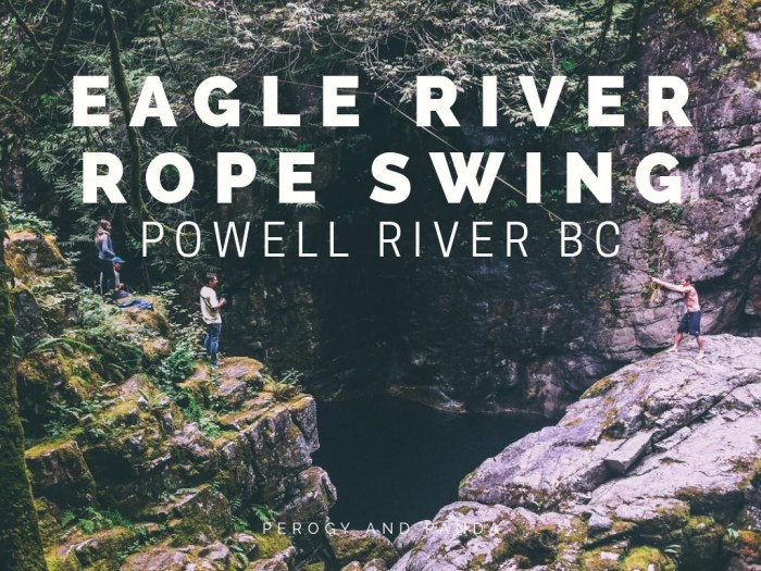 Eagle River Rope Swing in Powell River BC (Sunshine Coast)