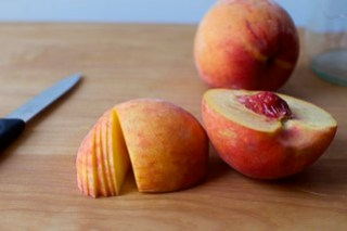 thinly sliced peach