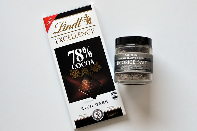 Licorice salted dark chocolate mousse