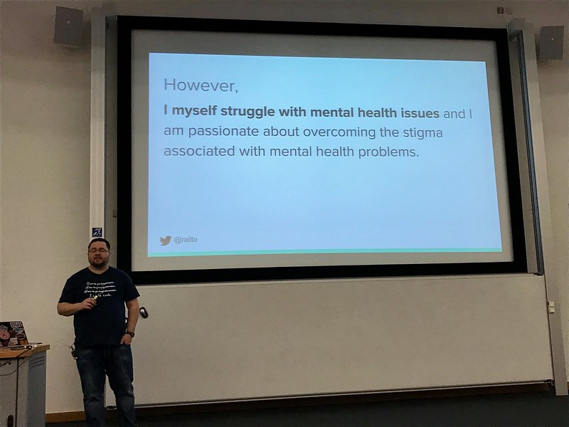 Mark, speaking on mental health issues at PHP Yorkshire Conference 2018
