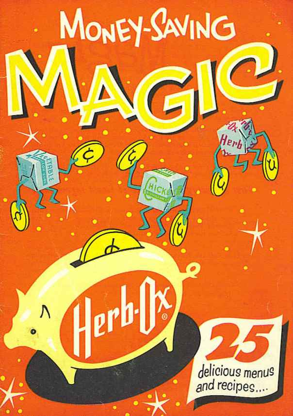 Herb-Ox 'Money-Saving Magic' cookbook cover - 1958